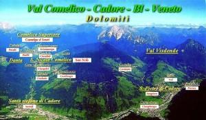 Mappa dei paesi della Val Comelico