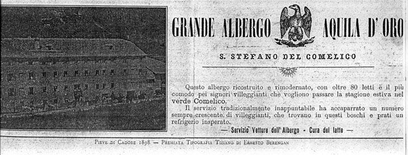S.Stefano di Cadore - L'albergo Aquila d'Oro sui giornali dell'epoca