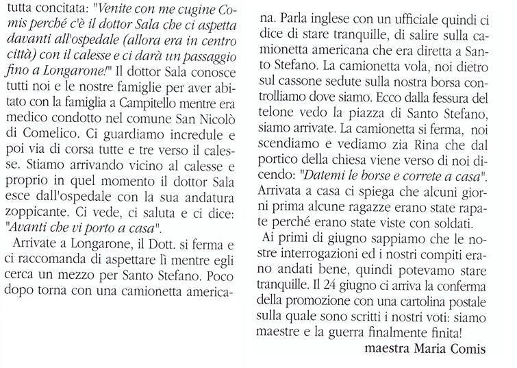 Santo Stefano di Cadore - Racconti - Ricordi dela maestra Maria Comis