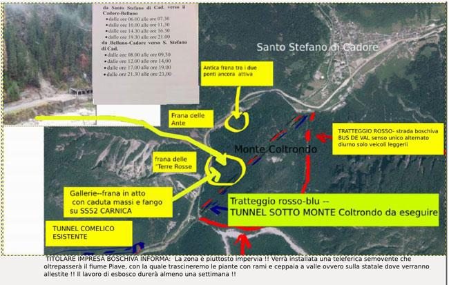 mappa frane sulla ss52 e tracciato tunnel Coltrondo